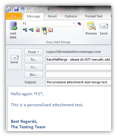 How to add an attachment to a mail merge email in Outlook
