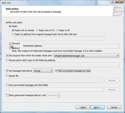 outlook redirect and forward